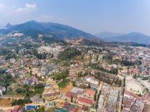 SAPA, WIETNAM - 05 MAR 2017: Widok od above miasto Sapa w północno zachodni Wietnam Miasto Zdjęcia Royalty Free