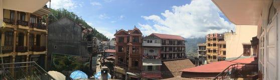 Sapa Wietnam miasteczko, sklepów domy obraz stock