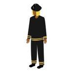 Sapador-bombeiro afro-americano isométrico Fotografia de Stock