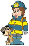 Sapador-bombeiro com cão Fotos de Stock Royalty Free