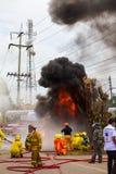 Sapador-bombeiro com fumo Foto de Stock