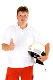 Sapador-bombeiro com polegar acima Imagens de Stock Royalty Free