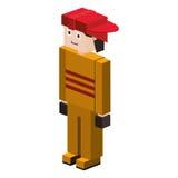 sapador-bombeiro da silhueta do lego com capacete Fotos de Stock Royalty Free