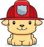 Sapador-bombeiro de sorriso Puppy dos desenhos animados Fotografia de Stock