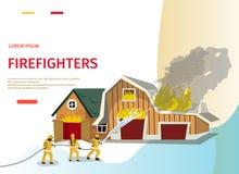 Sapador-bombeiro do conceito dos desenhos animados da ilustração do vetor ilustração do vetor