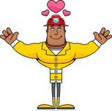 Sapador-bombeiro Hug dos desenhos animados ilustração stock