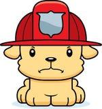 Sapador-bombeiro irritado Puppy dos desenhos animados Imagens de Stock Royalty Free