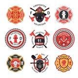 Sapador-bombeiro Label Set ilustração royalty free