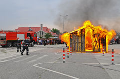 Sapador-bombeiro na ação Foto de Stock