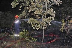 Sapador-bombeiro no francês Foto de Stock