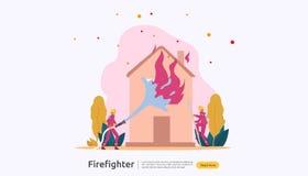 Sapador-bombeiro que usa o pulverizador de ?gua da mangueira para a casa de queimadura da luta contra o inc?ndio bombeiro no unif ilustração royalty free