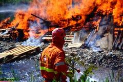 Sapadores-bombeiros (AIB) que extinguem o fogo foto de stock