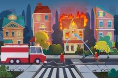 Sapadores-bombeiros com carro de bombeiros do motor para extinguir a casa civil na cidade Ilustração do vetor dos desenhos animad ilustração do vetor