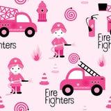 Sapadores-bombeiros femininos bonitos Fotos de Stock Royalty Free