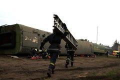 Sapadores-bombeiros running Foto de Stock