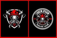 Sapadores-bombeiros surpreendentes e impressionantes com molde do logotipo da crista do vetor do machado e do protetor ilustração do vetor