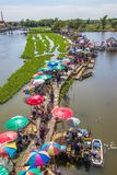 Sapan Khong Floating Market,Song Phi Nong District,Suphanburi,Thailand on December 15,2018:Bird`s-eye view of the market seen from royalty free stock image