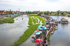 Sapan Khong Floating Market,Song Phi Nong District,Suphanburi,Thailand on December 15,2018:Bird`s-eye view of the market seen from stock photos