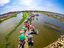 Sapan Khong Floating Market,Song Phi Nong District,Suphanburi,Thailand on December 15,2018:Bird`s-eye view of the market seen from stock photography