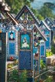 Sapanta快活的公墓, Maramures,罗马尼亚 那些公墓是独特的在罗马尼亚和在 免版税库存图片