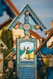 Sapanta快活的公墓, Maramures,罗马尼亚 那些公墓是独特的在罗马尼亚和在Th 库存图片