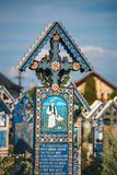 Sapanta快活的公墓, Maramures,罗马尼亚 那些公墓是独特的在罗马尼亚和在Th 库存照片