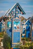 Sapanta快活的公墓, Maramures,罗马尼亚 免版税库存图片