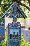 Sapanta快活的公墓, Maramures,罗马尼亚 那些公墓是独特的在罗马尼亚和在 免版税库存照片