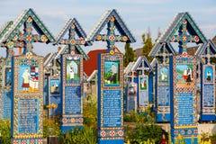 Sapanta快活的公墓, Maramures,罗马尼亚 那些公墓是独特的在罗马尼亚 库存图片