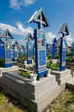 Sapanta, Maramures landmark. The merry cemetery of Sapanta, Maramures, Romania.This is very famous and probably the most beautiful cemetery in the world. All of Royalty Free Stock Photos