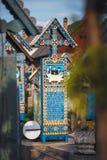 SAPANTA, RUMÄNIEN - 4. Juli 2015 - der fröhliche Kirchhof von Sapanta, Maramures, Rumänien Jenes ist Kirchhof in Rumänien und im  lizenzfreie stockfotografie