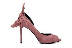 Sapata do salto alto das senhoras cor-de-rosa de Lite isolada no branco Foto de Stock Royalty Free