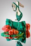 Sapata e bolsa verdes imagens de stock