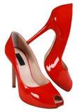 Sapata elevada vermelha da mulher imagens de stock royalty free