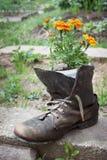 Sapata velha usada no projeto do jardim imagens de stock