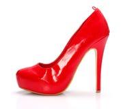 Sapata vermelha da mulher Imagens de Stock