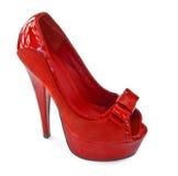 Sapata vermelha da mulher do verão Imagens de Stock