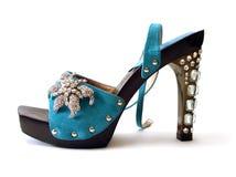 Sapatas azuis bonitas da mulher Fotos de Stock Royalty Free