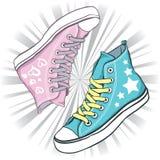 Sapatas azuis e cor-de-rosa ilustração royalty free