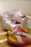 Sapatas bonitos do miúdo Fotografia de Stock