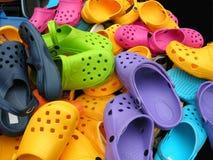Sapatas coloridas fotografia de stock