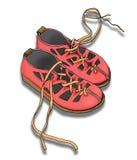 Sapatas com as sapatilhas running coloridas brilhantes Isolado no fundo branco Fotografia de Stock Royalty Free