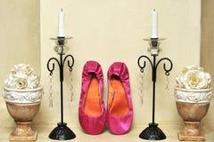 Sapatas cor-de-rosa do casamento Imagem de Stock