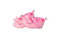 Sapatas da cor-de-rosa de bebê Foto de Stock
