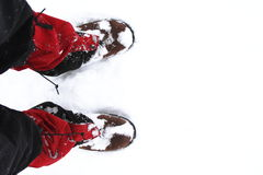 Sapatas da neve durante a caminhada fotos de stock royalty free