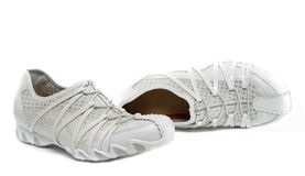Sapatas da senhora branca. foto de stock