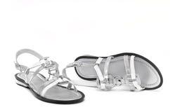 Sapatas da senhora de prata. fotos de stock