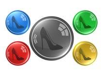 Sapatas das mulheres, botão, ilustração 3d Imagens de Stock