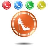 Sapatas das mulheres, botão, ilustração 3D Fotografia de Stock Royalty Free