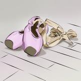 Sapatas de bailado da ilustração para o bailado que encontra-se sobre se roxo cor-de-rosa e curva Fotografia de Stock